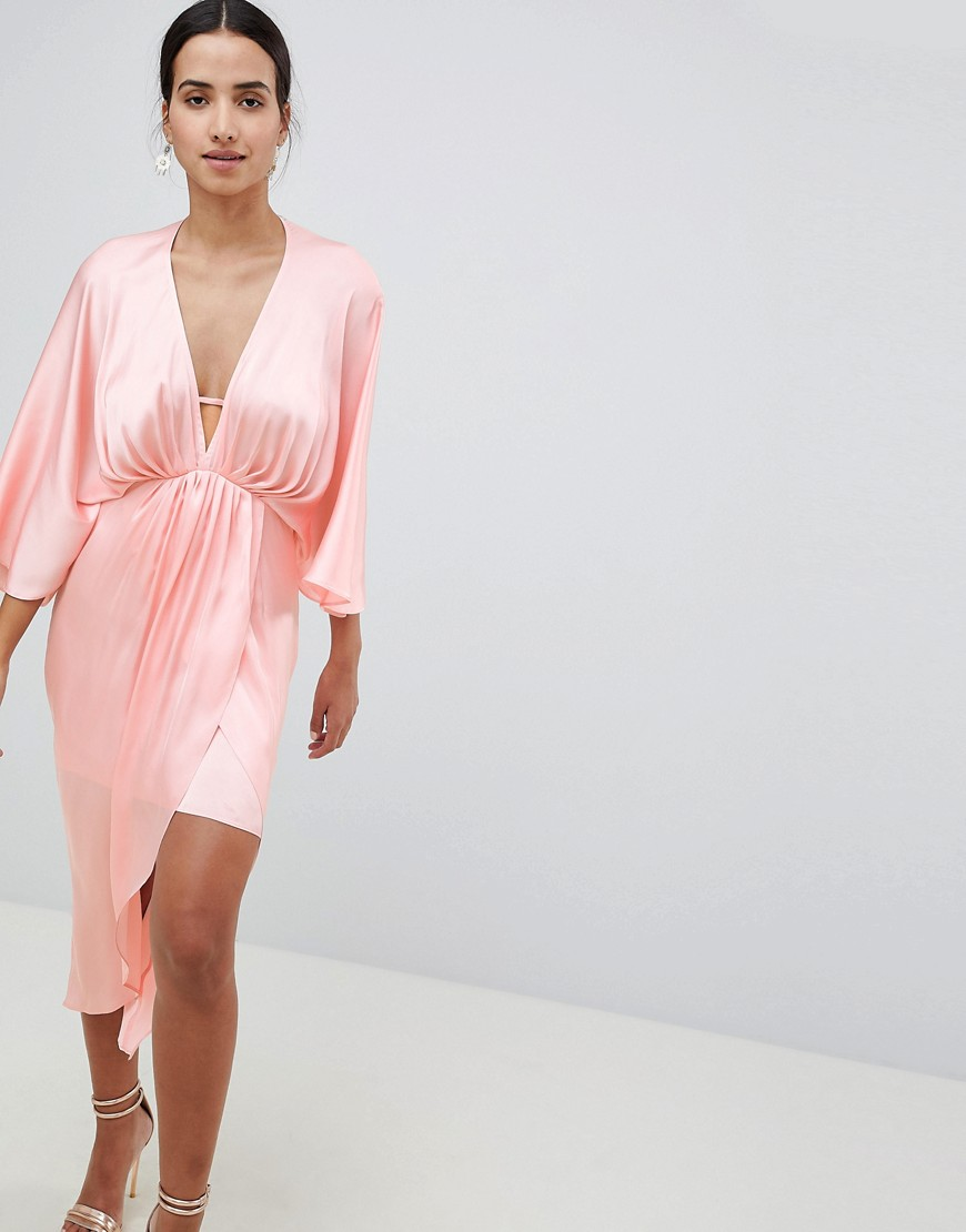 DESIGN Satin Body With Cup Detail - Soft pink Asos