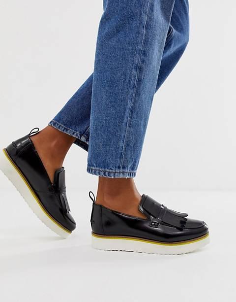 ASOS DESIGN Mimi leather flatform loafers in black
