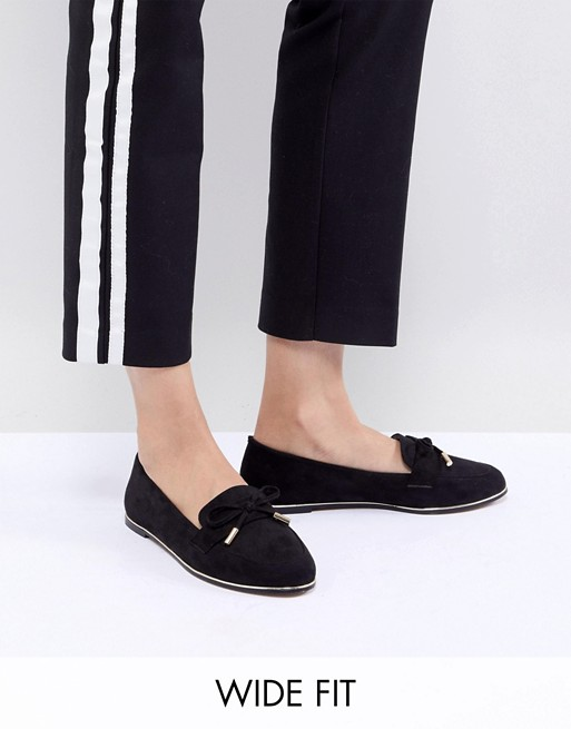 ASOS DESIGN Mossy Wide Fit Flat Shoes tuJQ9zlOED