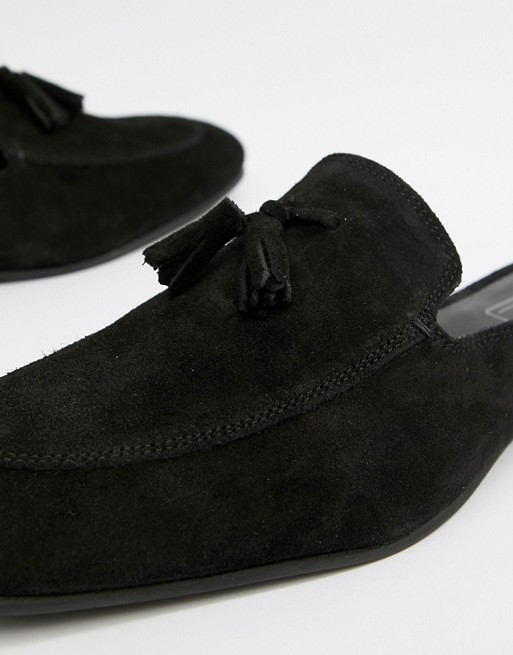 tassels with DESIGN suede in ASOS loafer mule black Zqwa0