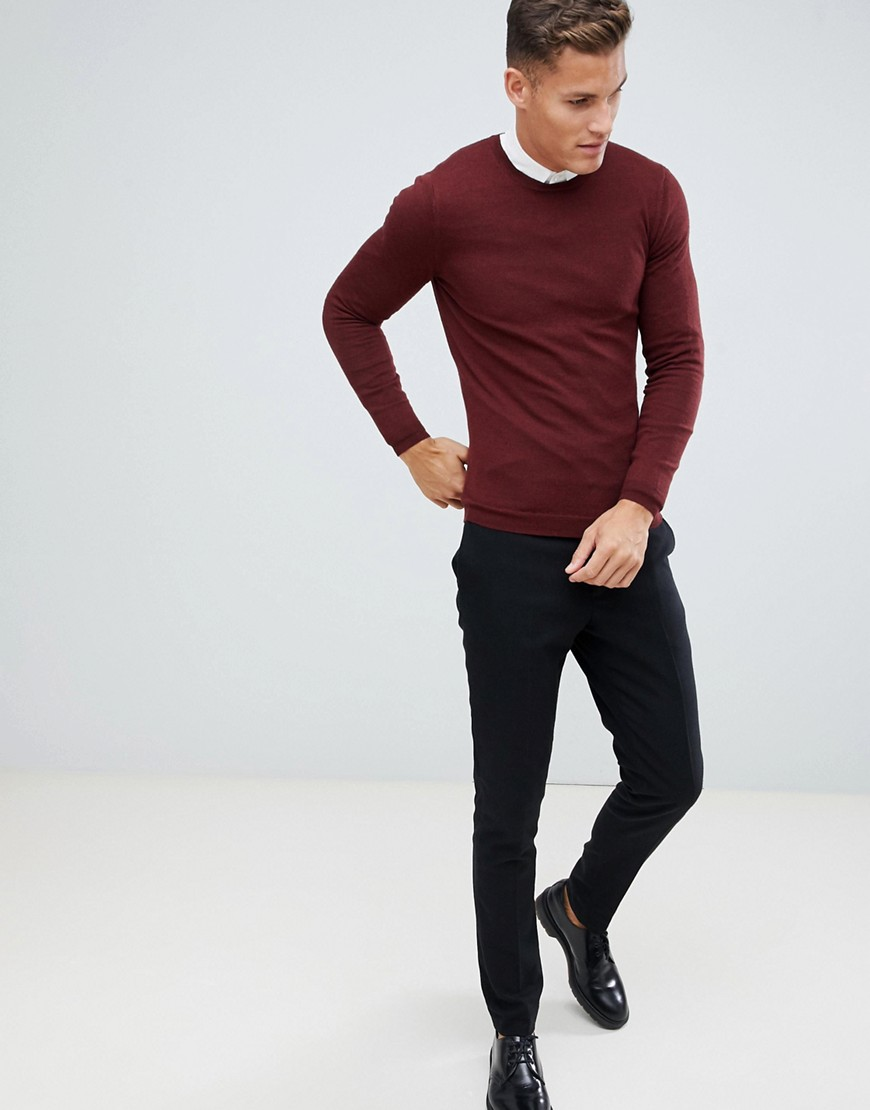 Asos Design Muscle Fit Merino Wool Jumper In Burgundy by Asos Design