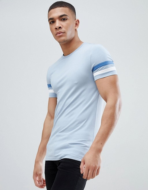 Panels Muscle shirt Design T Contrast Sleeve Asos With Fit vqgwC85x