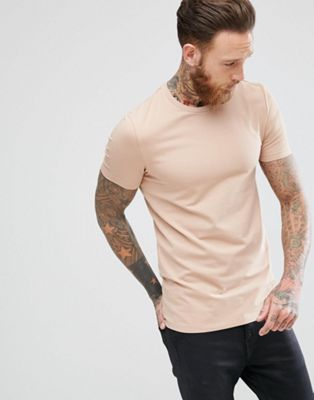 Image 1 of ASOS DESIGN muscle fit t-shirt with crew neck in beige