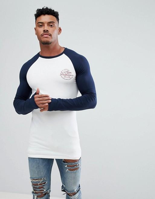 DESIGN with city ASOS raglan print ASOS a longline t long shirt muscle sleeve 5U6qwz