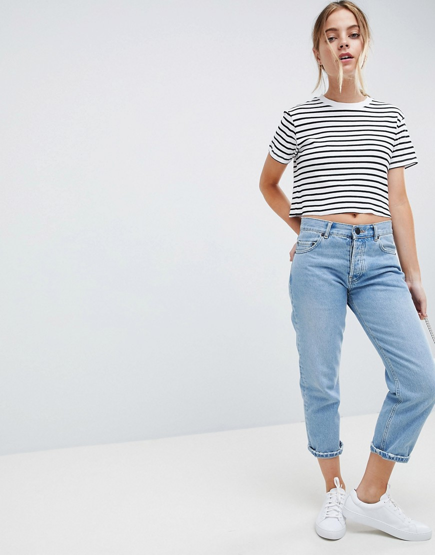 Asos Design Petite Boxy Crop Stripe T Shirt In Rib by Asos Design