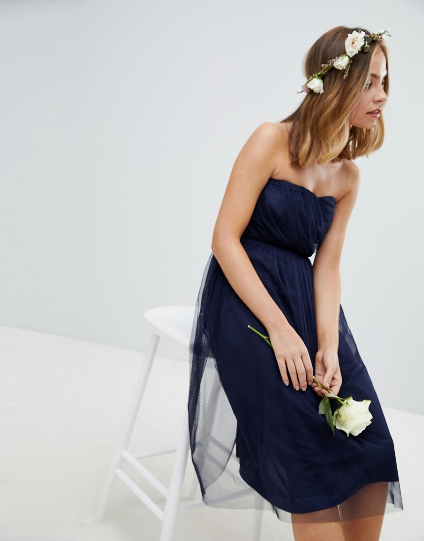 Asos Design Petite Bridesmaid Bandeau Tulle Midi Dress by Asos Design