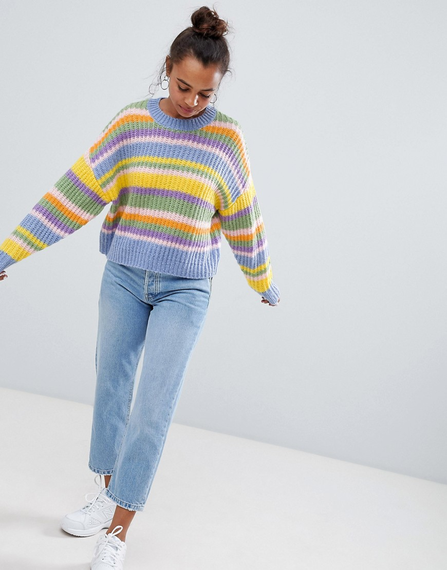 Asos Design Petite Cropped Sweater In Stripe by Asos Design