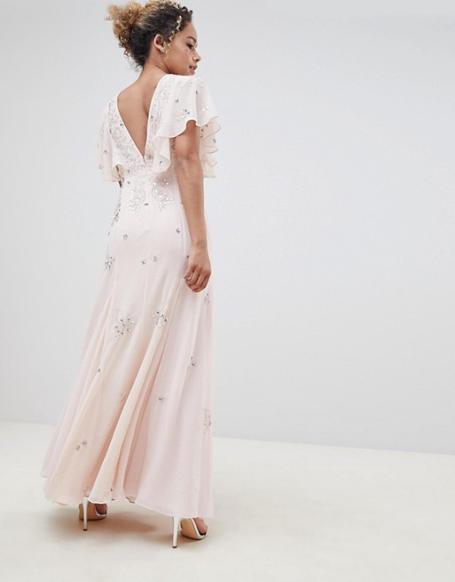 maxi bridesmaids DESIGN ASOS dress embellished ASOS with Petite sleeve angel delicate Petite nZ1Rx0