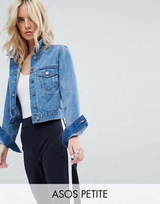 Image 1 of ASOS DESIGN Petite denim shrunken jacket in midwash blue