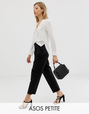 Image 1 of ASOS DESIGN Petite high waist tapered trousers