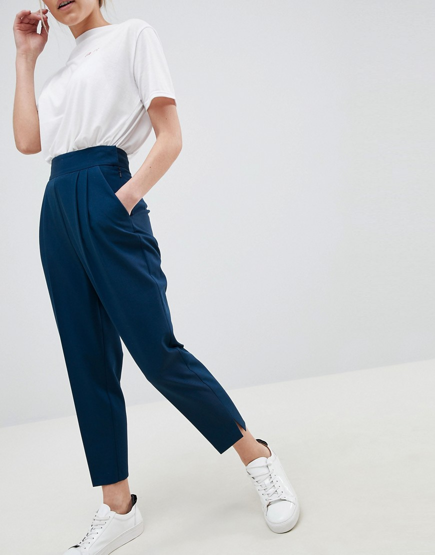 Asos Design Petite High Waist Tapered Trousers by Asos Design