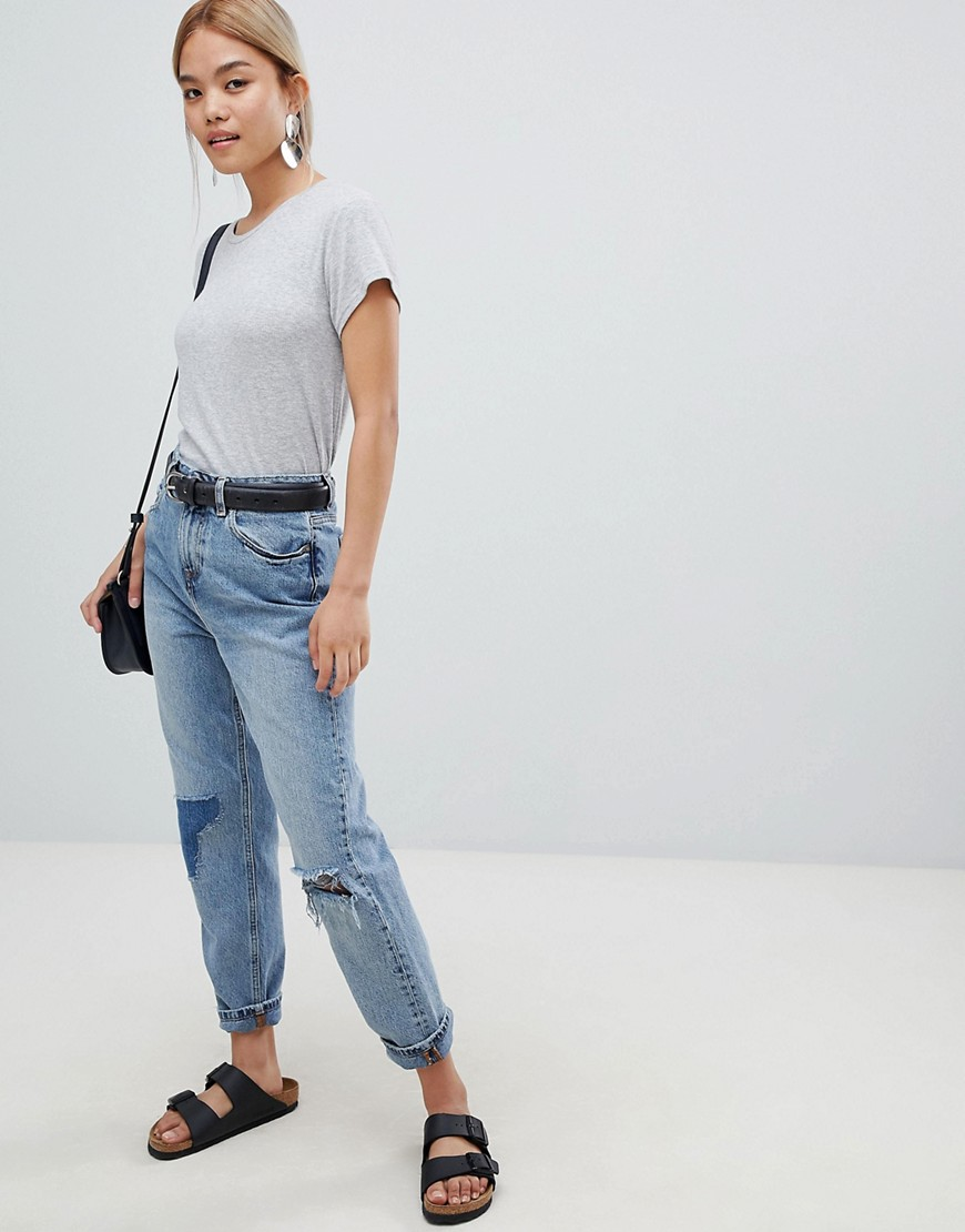 Asos Design Petite Recycled Ritson Rigid Mom Jeans In Divinity Rich Mid Blue Wash by Asos Design