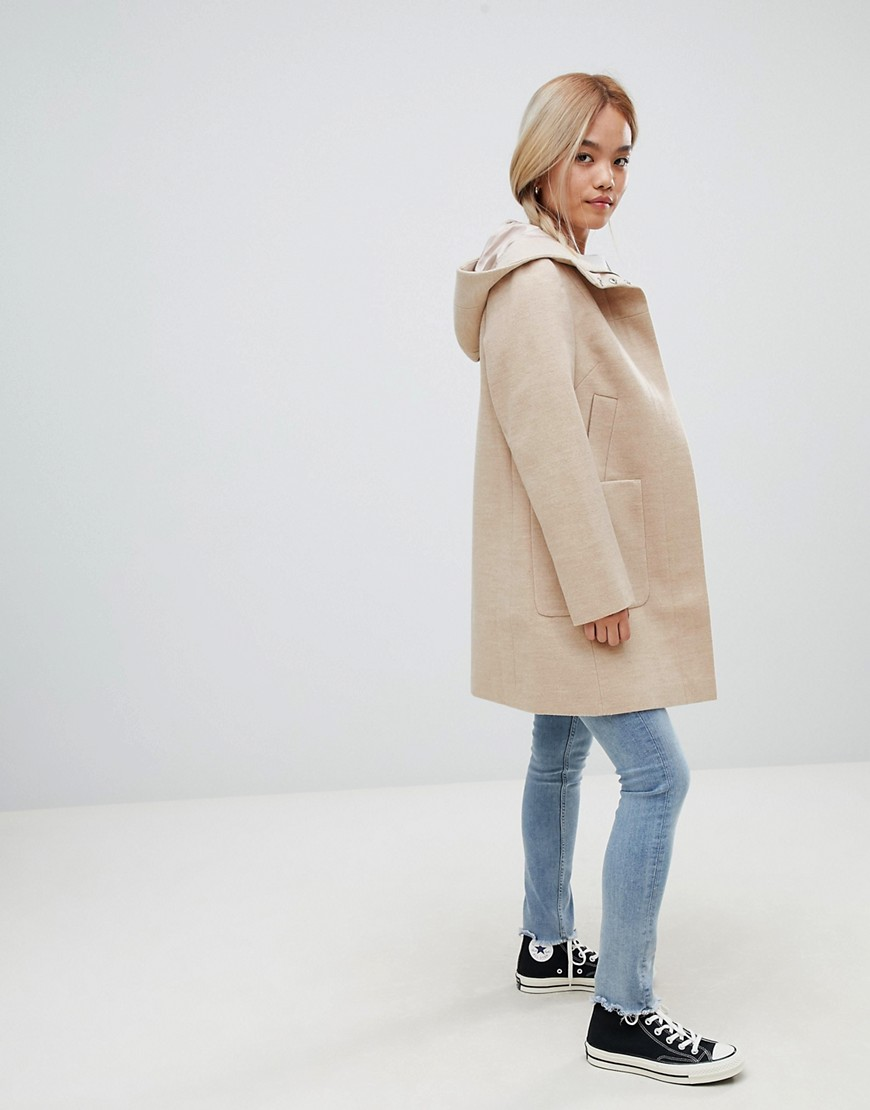 Asos Design Petite Zip Through Coat With Hood by Asos Design