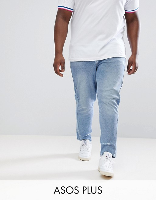 Factory Outlet For Sale DESIGN Plus Skinny Twisted Seam Jeans In Light Wash Blue With Abrasions - Light wash blue Asos Best Store To Get Online Big Sale Sale Online Original For Sale nUijuyu8wM