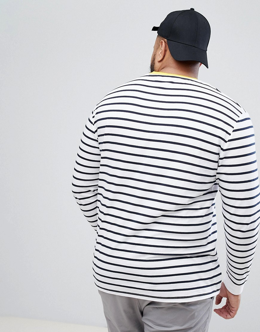 DESIGN stripe relaxed long sleeve t-shirt in white and navy with contrast ringer - White Asos