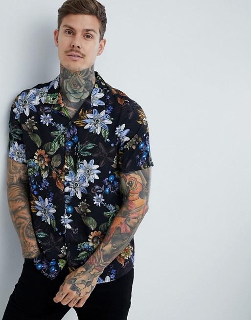 with shirt ASOS in DESIGN fit regular floral collar revere black ASOS nq1YHxwx