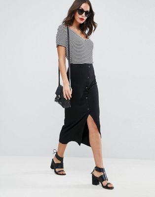 Image 1 of ASOS DESIGN rib popper midi skirt
