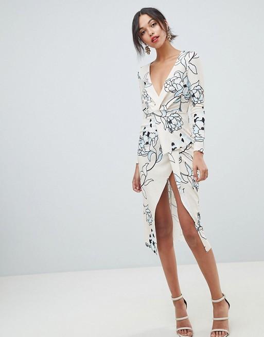 ASOS - ASOS DESIGN - Robe mi-longue croisée texturée à manches longues avec imprimé fleuri