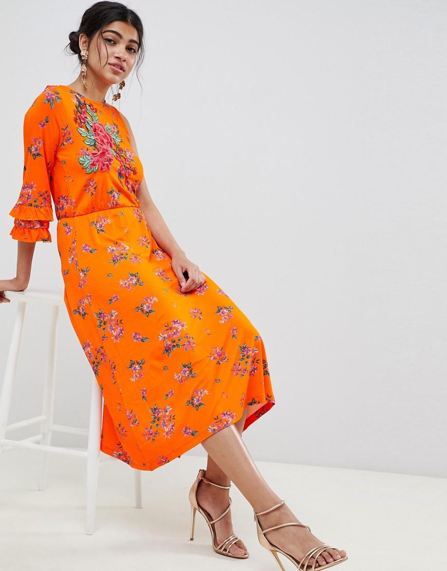 DESIGN rose applique midi tea dress in floral print - Floral print Asos