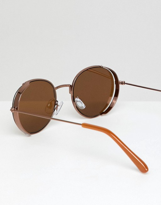 DESIGN cap side bronze in ASOS sunglasses round ASOS detail with qw85UA
