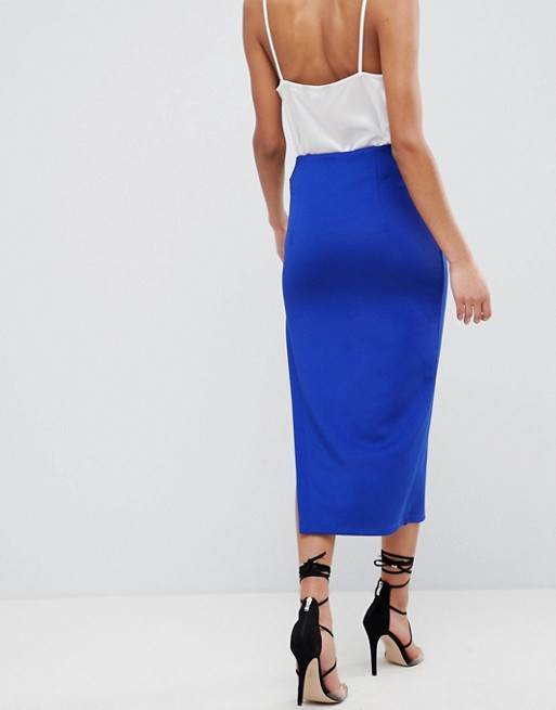 All Seasons Available ASOS DESIGN scuba midi skirt with thigh split Discount Real SZcMWsn
