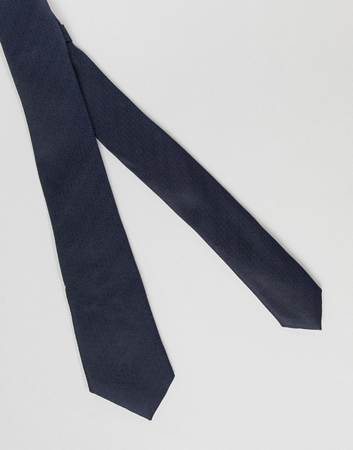 slim tie and navy sqaure pocket ASOS ASOS DESIGN BqIIE