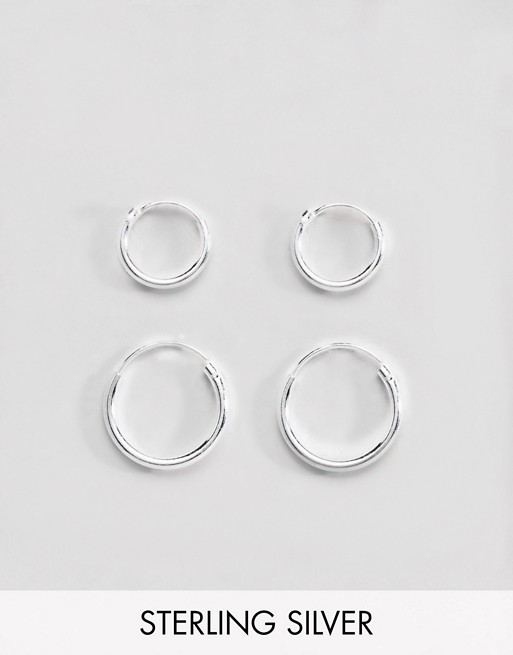 sterling hoop pack 12mm and ASOS earring DESIGN ASOS 9mm silver TvE160wx
