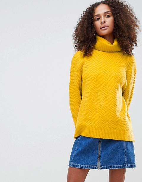 ASOS DESIGN stitch detail jumper with roll neck