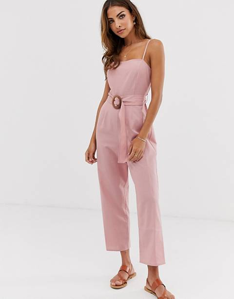 ASOS DESIGN strappy pinny belted jumpsuit