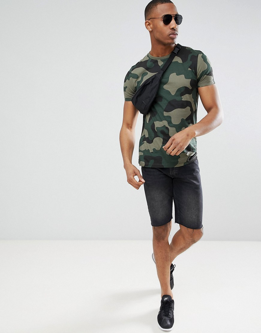 Asos Design T Shirt In All Over Camo Print by Asos Design