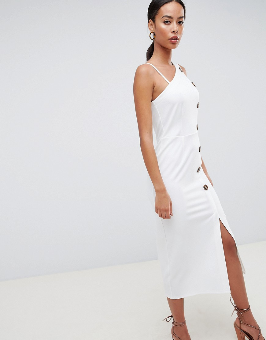 Asos Design Tall Asymmetric City Maxi Dress With Button Detail by Asos Design