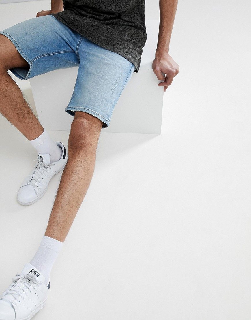 DESIGN Tall Denim Shorts In Skinny White & Light Wash With Abrasions - White / light blue Asos