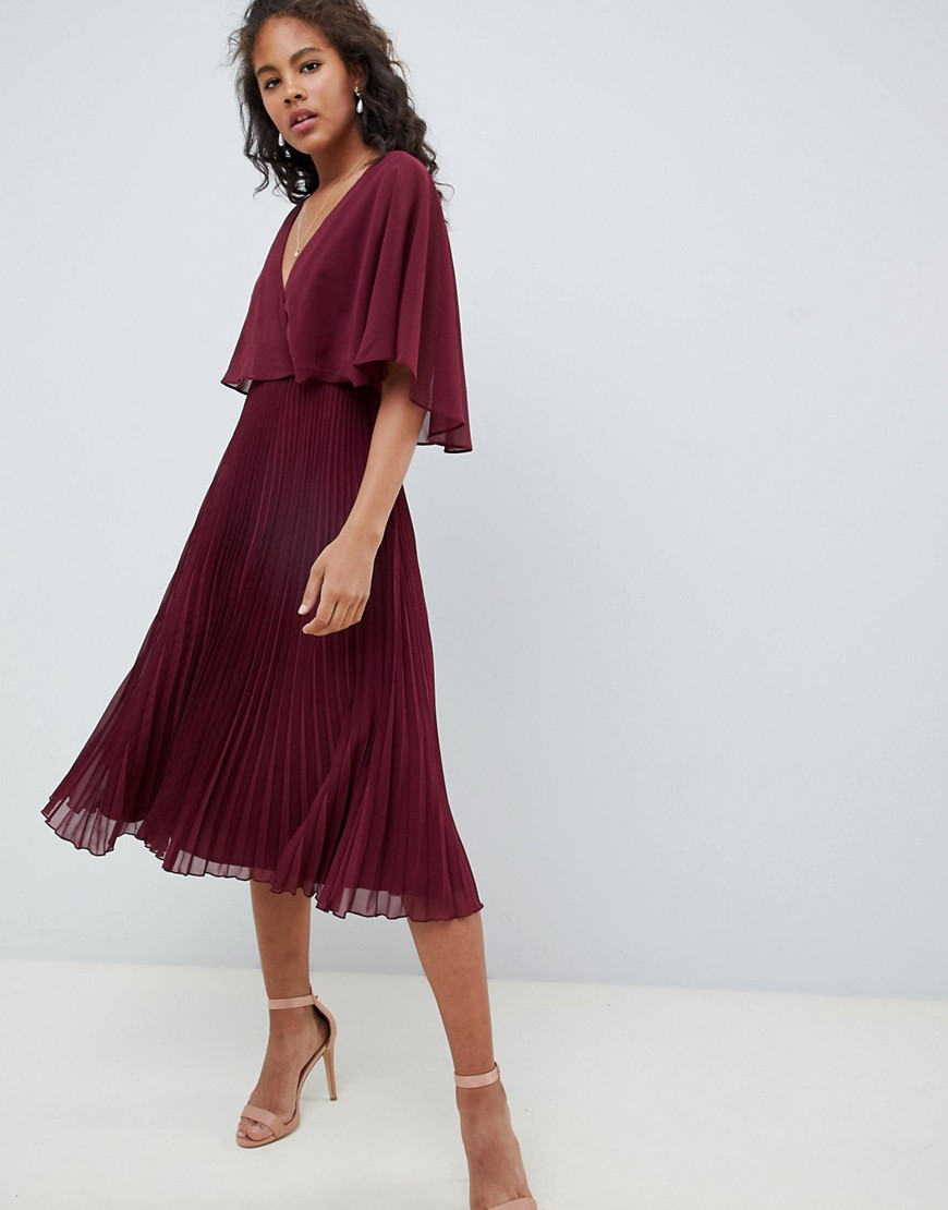 Asos Design Tall Midi Dress With Pleat Skirt And Flutter Sleeve by Asos Design