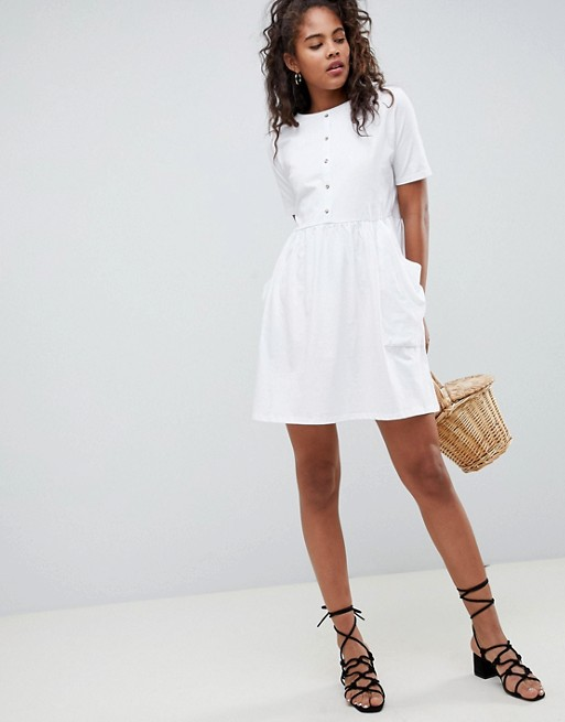 Asos Pockets Tall Dress Button Front Mini Design And With Smock wHrwgY