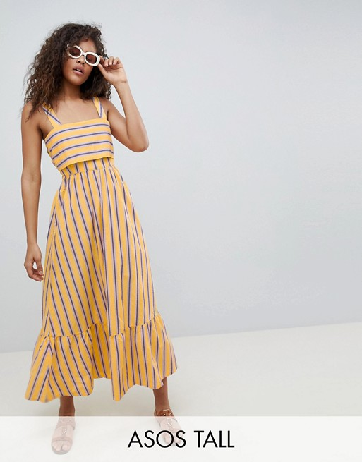 ASOS DESIGN Tall stripe maxi dress with pephem
