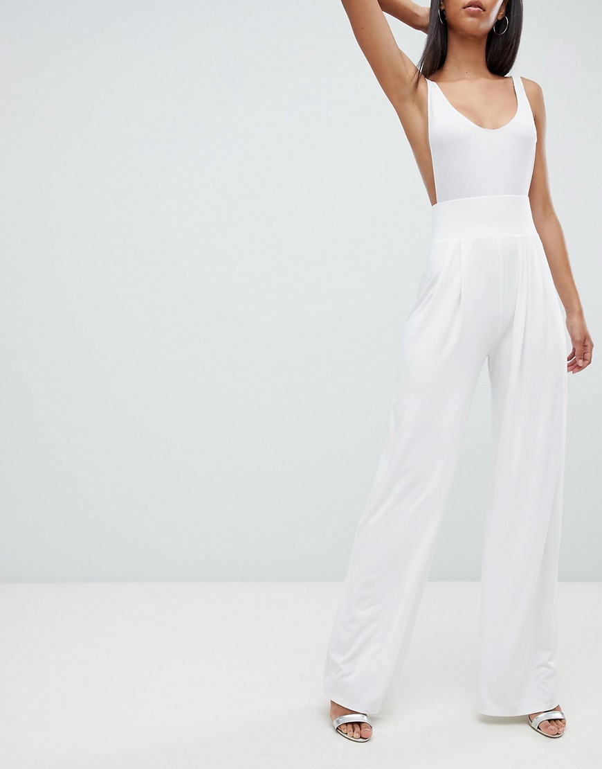Asos Design Tall Wide Leg Pants With Deep Waistband by Asos Design