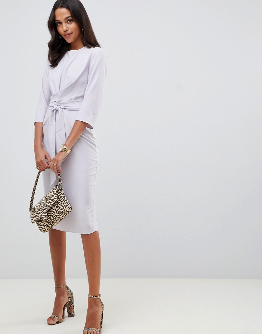 Asos Design Tie Wrap Around Midi Dress by Asos Design
