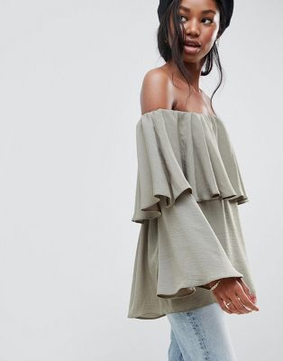 ASOS DESIGN Tiered Top With Off Shoulder Detail