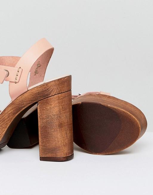 DESIGN Troop Leather Plaited Heeled Sandals - White Asos aqJYayjLpA