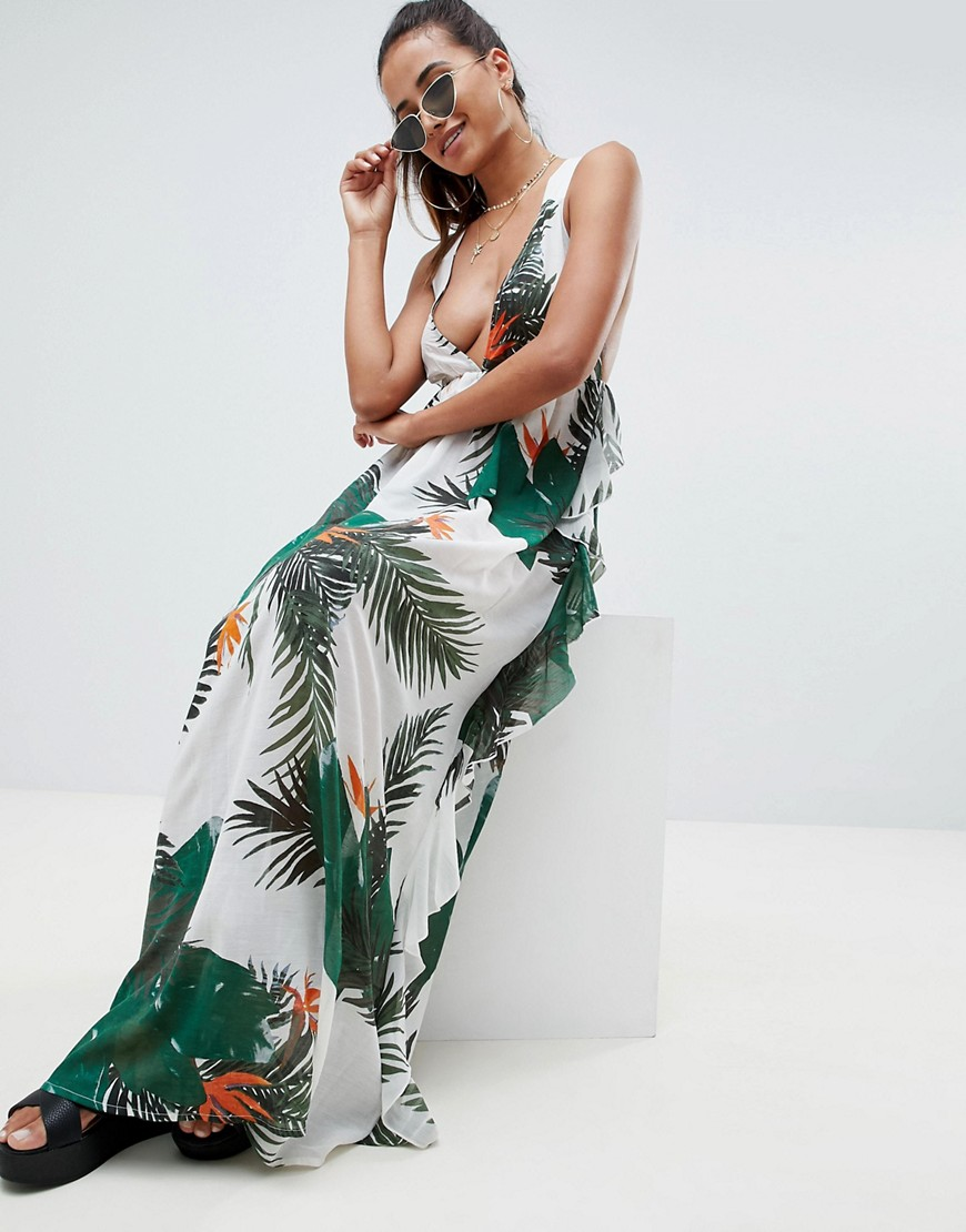 Asos Design Tropical Print Frill Back Beach Maxi Dress by Asos Design