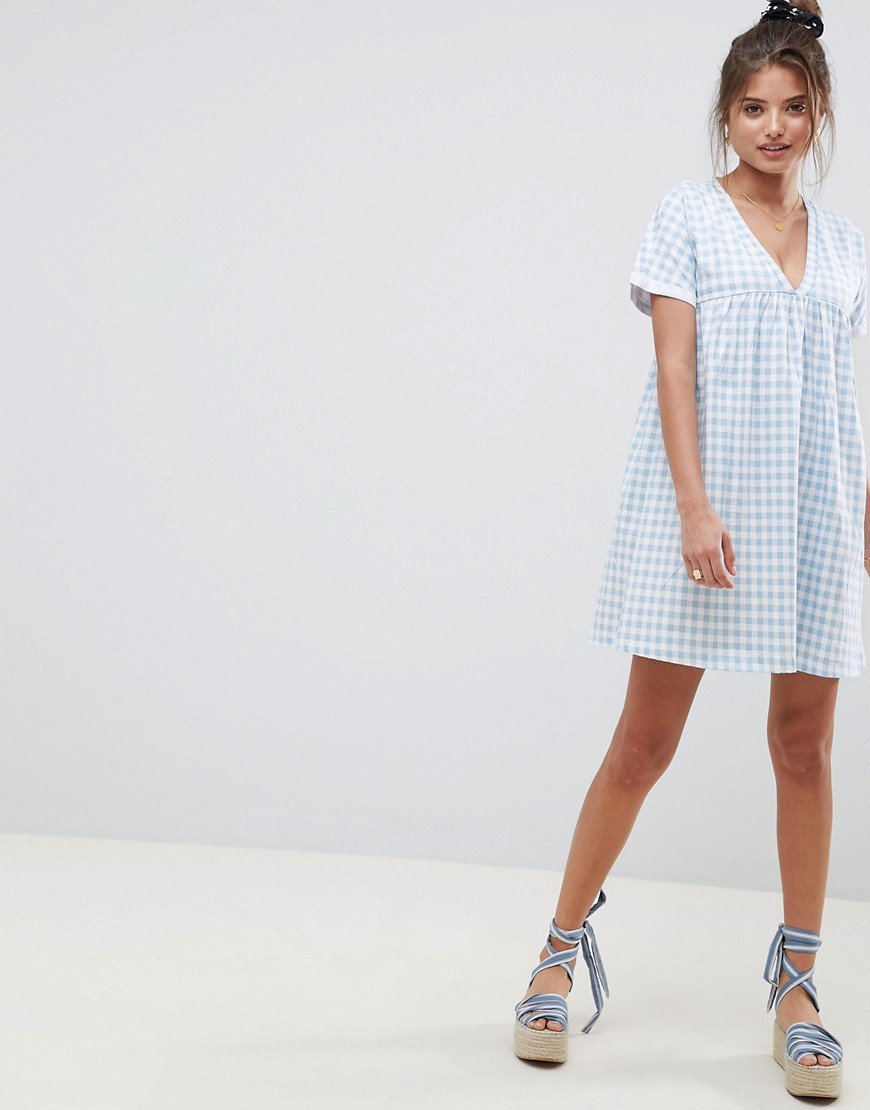 Asos Design Ultimate Cotton Smock Dress In Gingham by Asos Design
