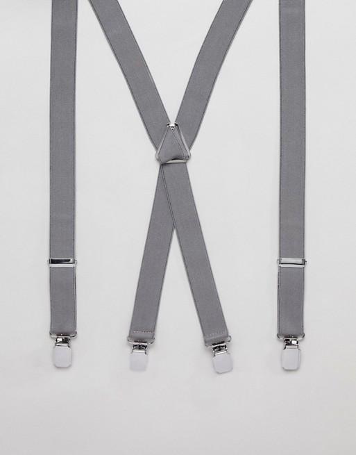 ASOS ASOS in set gift bow gray herringbone tie suspenders Wedding and DESIGN dwOxZw