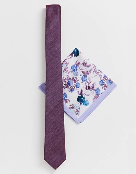 ASOS DESIGN Wedding slim textured lilac tie & floral pocket square