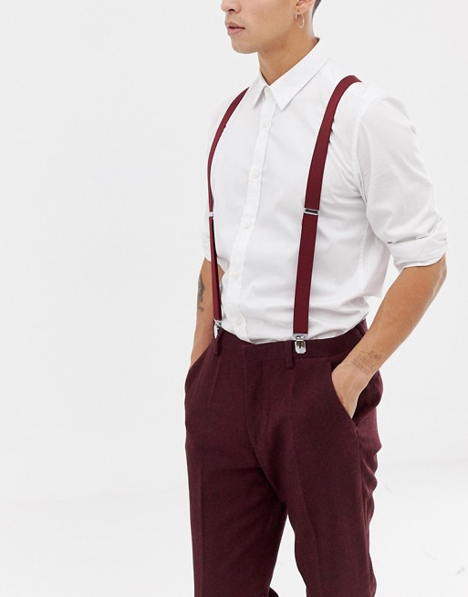 burgundy wedding ASOS ASOS in DESIGN suspenders xUR4w1gq