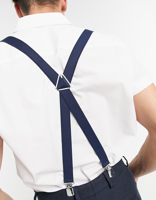 navy ASOS in DESIGN ASOS wedding suspenders wFFxURq4