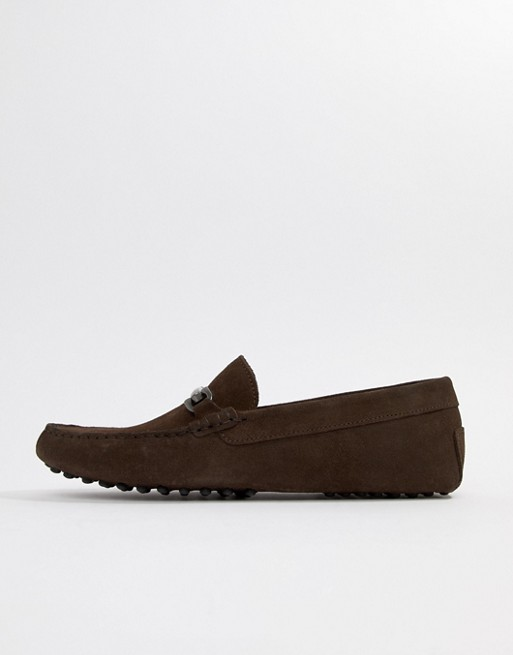 DESIGN in brown with driving snaffle suede shoes Wide ASOS Fit adqqC