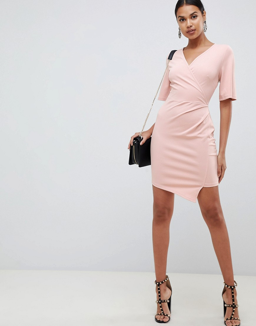 Asos Design Wrap Mini Dress With Mesh Back by Asos Design