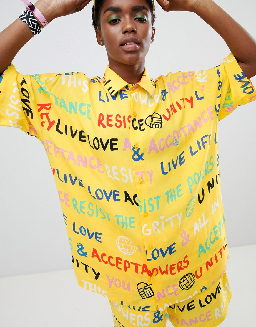 Asos Design X Glaad&Amp; Shirt Co Ord In Scribble Print by Asos Design X Glaad&