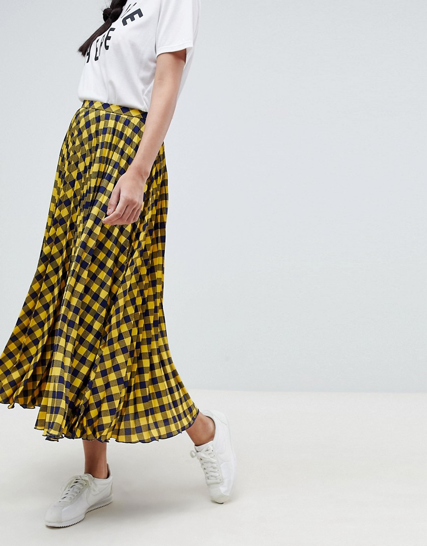 Asos Design Yellow Check Pleated Midi Skirt by Asos Design