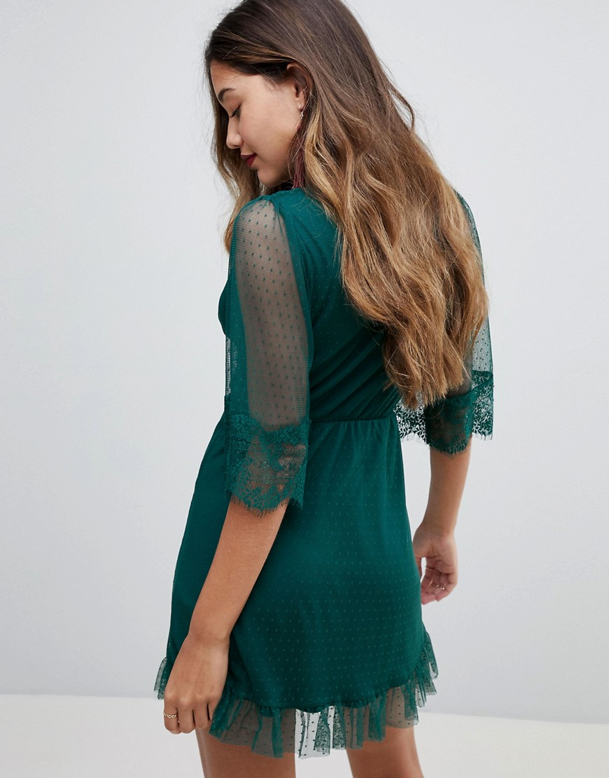 Wrap Front Mini Dress - Forest green Asos